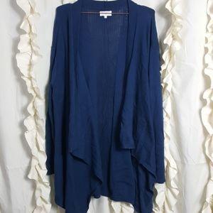Lou & Grey drape front cardigan sweater deep teal